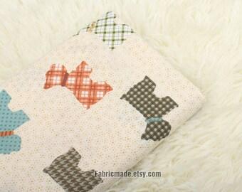 Cartoon Dogs Cotton Fabric On Cream- 1/2 Yard