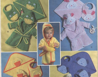 Butterick Pattern B4053 Infant's Towel, Robe and Bib Duck Frog Dog Bunny