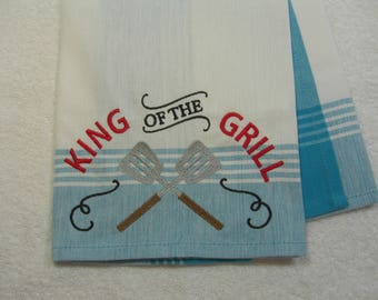 King of the Grill Embroidered Cotton Kitchen Towel Ready to Ship
