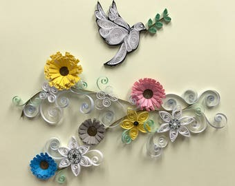 Quilling, paper art, quilled art, dove, flowers, 8x8 framed