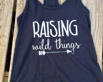 Raising Wild Things shirt // Raising Wild Things Tank // Mom Shirt // Mom gift Idea // Motherhood shirt // Cute Mom Shirt