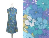 Late 1950's, Early 1960's Dress | Blue Floral Print Dress | Vintage Scarf Neck Dress