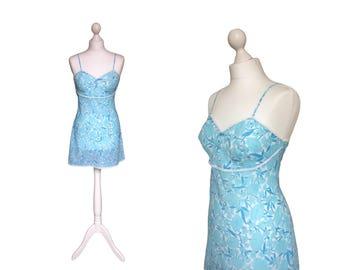 1960's Slip | St Michael Slip | Blue Floral Mini Slip | 60's Under Slip | Vintage Nightwear / Lingerie