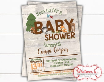 Woodland Baby Shower Printable Invitation | Woodland Animal Baby Shower | Baby Animal Baby Shower Printable Invitation | Forest Animals