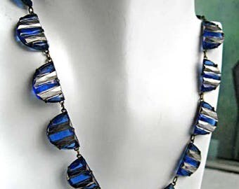 Czech Art Deco Choker, Blue Glass Half Moon Links, Silver Coated Metallic Bars, Mirrored Top Finish, Prongset Glass Necklace, Signed Czech