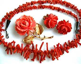 Celluloid Coral Rose Brooch, Natural Branch Coral Choker Necklace, Rose Clip Earrings, Coral Blossom Gold Stem and Leaves, Three Piece Lot