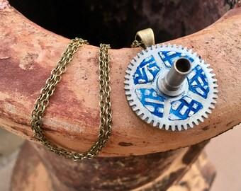 Steampunk Gear, Polmer Clay Necklace, Industrial Wear, Steampunk Jewelry, Real Gears, Fantasy Jewelry, Clock Gears