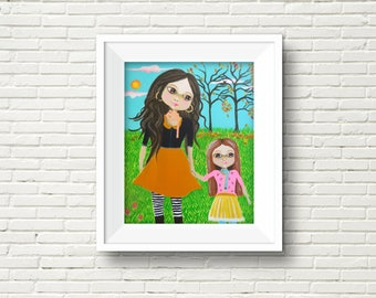 Mother and Child Art, Mother's Day Gift, Mother, Motherhood Painting, Mother Daughter Art, Family Art, Auntie and Niece, Gift for Mom,