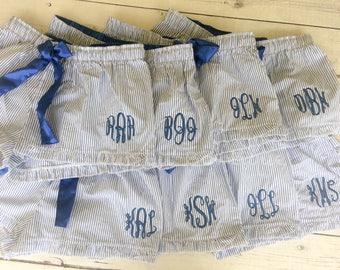 Personalized Seersucker Monogrammed Boxers -  Bridal Party- Wedding Day Boxers - Bridal Party Boxers - Monogrammed Shorts - Ruffle