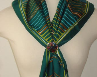 Vintage Green Striped Square Scarf  - Multi Coloured Scarves - Womens Accessories