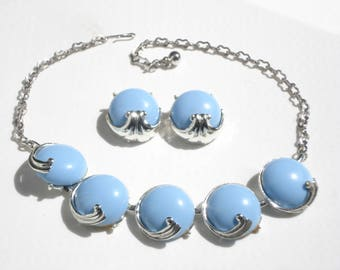 Vintage Coro Necklace and Earrings - Silver and Baby Blue Costume Jewellery - Bridal Jewelry 1960s