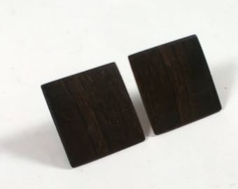 Vintage Large Square Brown Wood Earrings - Pierced Retro Fashion Jewelry - 1980s