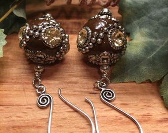 Earrings, Brown enamel ball, Sliver tone studded Swril Accents, soft cream yellow rhinestone, swirl ear wire, free shipping, USA # 82