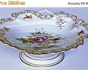 3-day SALE Vintage Germany Porcelain Compote, grape leaf pedestal china dish, hard to find