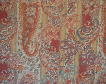 Vintage Floral Paisley Stripe Bed Sheet, Full-Queen Size, Peach, Rose, Aqua and Cream, Martex Atelier Flat Bed Sheet