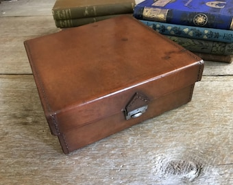Edwardian Leather Travel Case, English Collar Stud Box, Camera Storage Jewelry Box