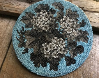 Amazing 1800s Beaded Tapestry Picture Panel, Floral Hydrangea, Victorian Era, For Framing