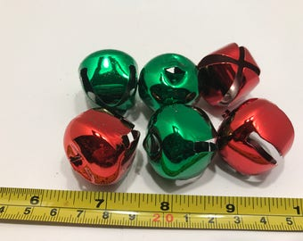6 piece red and green shinny jingle bell mix, 30 mm (LR11)