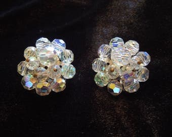 Vintage Clip Earrings, Aurora Borealis Style Rhinestones.  Excellent Condition