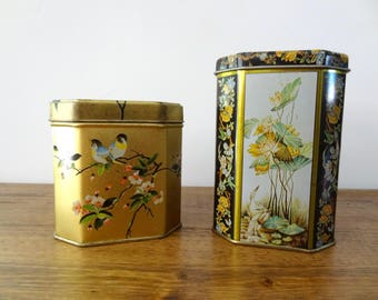 Set of 2 Vintage Mini Tin Canisters Botanical Asian Themed