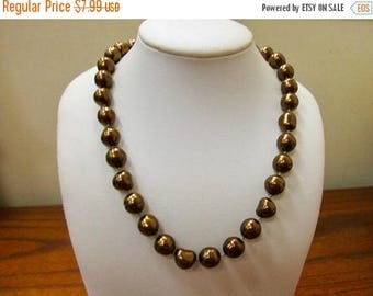 ON SALE Vintage Sculptured Chocolate Pearl Necklace Item K # 3131