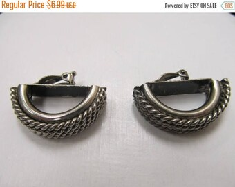 ON SALE Chunky Silver Tone Twisted Design Earrings Item K # 1694