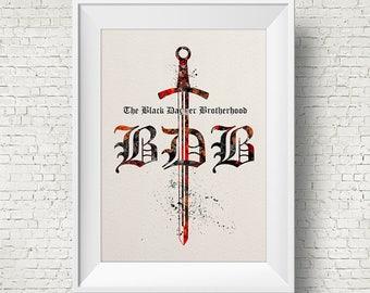 The Black Dagger Brotherhood 1 Watercolor Painting Art Print Wedding Gift Wall Decor Nursery Art Wall Hanging  J. R. Ward
