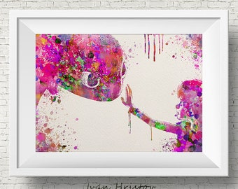 Hiccup Toothless Night Fury Pink How to train your DRAGON  Watercolor Art Print Wall Art Poster Wall Decor Art Home Decor Wall Hanging