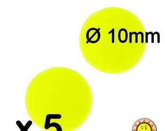 x 5 silicone beads round 10mm yellow neon standards food teething