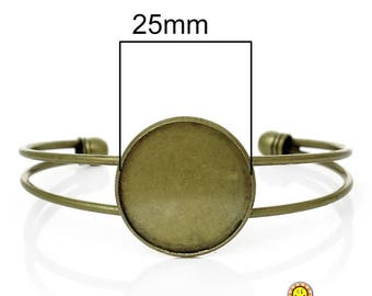1 bracelet holder bronze rigid 25mm fimo / cabochon