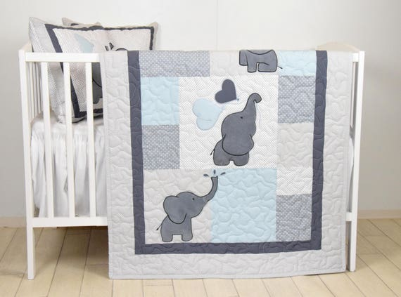 Blue Baby Quilt,  Elephant Blanket, Gray Blue Crib Bedding, Safari Nursery