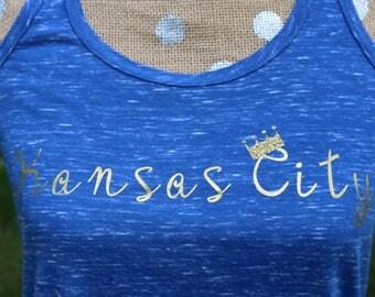 Kansas City Royals Flowy Racerback Tank Vintage Royal Blue Gold Foil and Glitter S-XXL