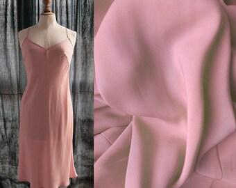 Vintage slip dress, powder pink, polyester, SMALL