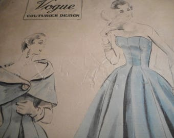 Vintage 1950's Vogue No. 778 Couturier Design Evening Gown and Cape Sewing Pattern Size 20 Bust 38