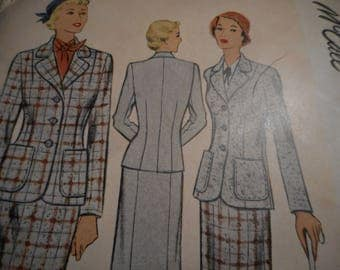 Vintage 1950's McCall 8253 Two-Piece Suit Sewing Pattern Size 16 Bust 34