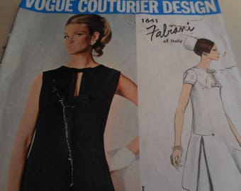 Vintage 1960's Vogue 1641 Couturier Design Fabiani of Italy Dress Sewing Pattern Size 12 Bust 32