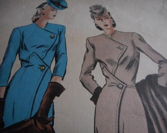 RARE 1940's Vogue No. 345 Couturier Design Dress Sewing Pattern Size 14 Bust 32