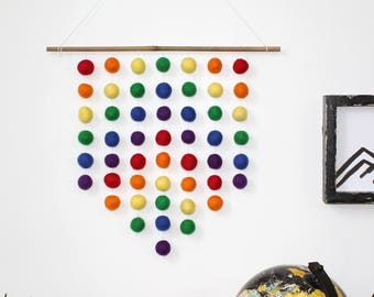 Bright Rainbow Felt Ball Wall Hanging, Gender Neutral, Pom Pom Wall Hanging, Nursery Decor, Custom Wall Hanging, Hanging Mobile