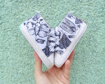 Moth Baby Boots - cute - kids shoes - sneakers - illustration - taxidermy - creepy  - sketch - monochrome - baby - fashion - halloween