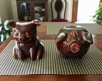 Hull Corky Piggy Banks, Set of 2, Hull Pottery Brown Drip, Coin Bank, Vintage Hull, Brown Piggy Banks, Vintage Banks, Drip Glaze Piggy Bank