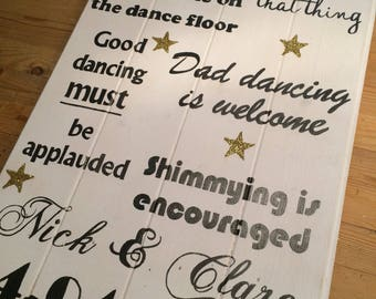 Dance Floor Rules rustic handpainted wooden sign, alternative to a chalkboard sign