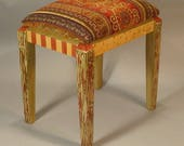 Vanity Stool - Gold-Green Velvet  Custom Made-to-Order