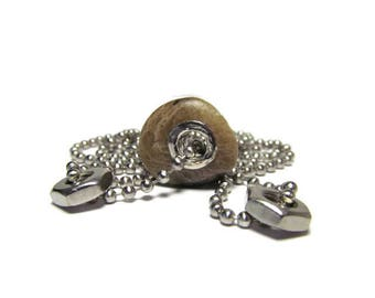 Faintly Favosite Fossil Stone 30 In Necklace, USA Stainless Steel, Lake MI, Grommets, Steel Nuts, Large Hole Charm, Handmade, Industrial