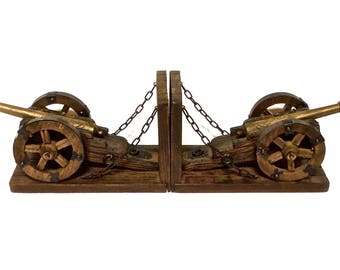 Civil War Style Wood Bookends with Brass Cannons Set of 2, Great Detail, Civil War Decor Vintage Library
