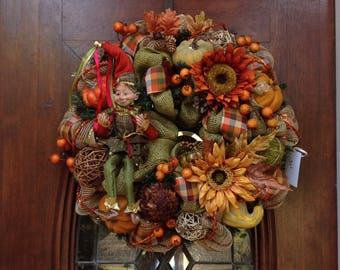 Fall Burlap and Mesh Wreath with Elf