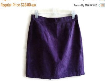 SALE Purple Suede Skirt Vintage 80s size Small S