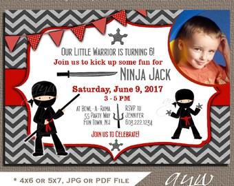 Ninja Birthday Party Invitation Ninja Warrior Birthday Party Invites Ninja Party Invites Printable Chevron Red and Black Ninja Party PHOTO