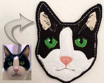 Cat Portrait Custom Patch. Textile Art
