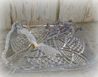 vintage crystal relish dish serving plate cut glass condiment dish celtic knot design glass dish party plate wedding accessories