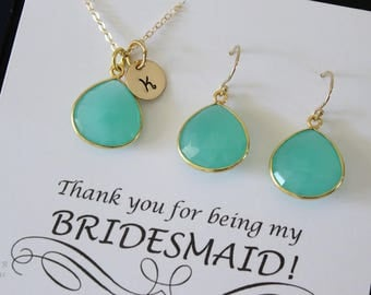 9 Bridesmaid Green Initial Necklace and Earring set, Bridesmaid Gift, Sea Foam Chalcedony, 14k Gold Filled, Monogram Jewelry, Personalized